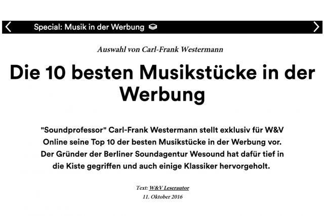 Top 10 Musikstücke in der Werbung -W&V